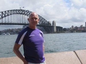 Chris in front of Sydney Harbour Bridge