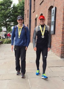 Kevin and his dad at the Liverpool half marathon - June 2015
